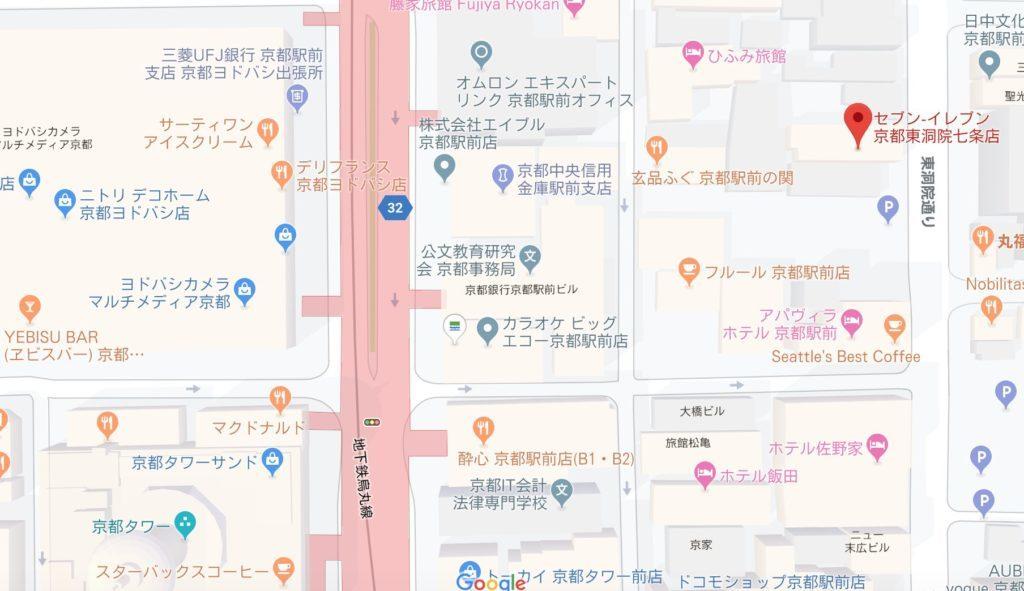地図(京都駅セブンイレブン)
